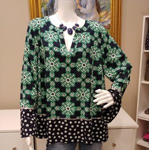 CROWN & IVY NAVY/GREEN TUNIC BELL SLEEVES 1X